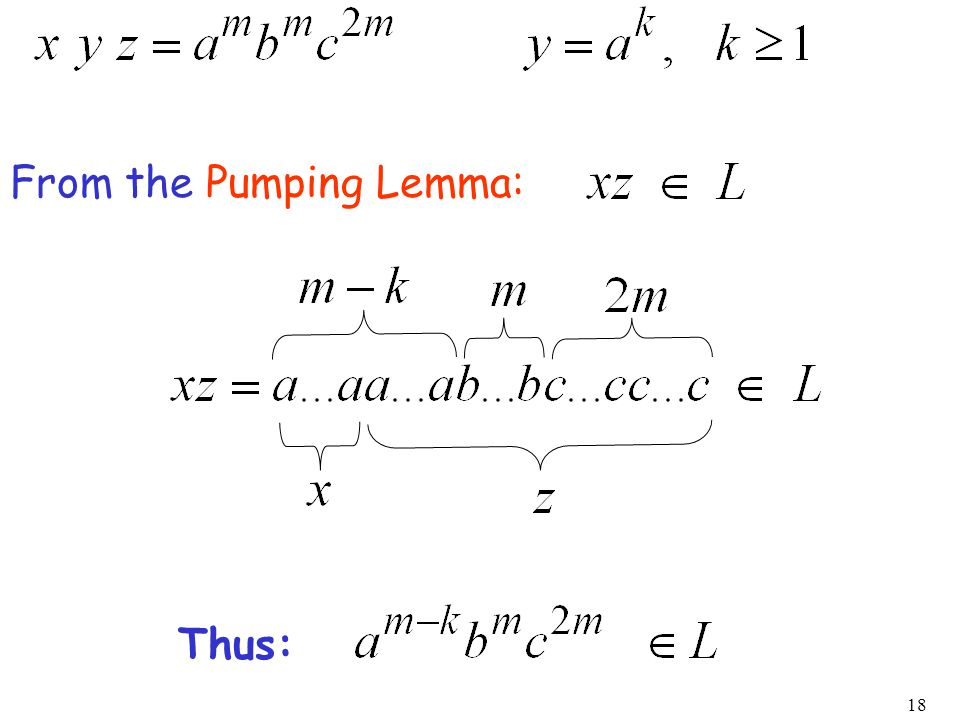 18 From the Pumping Lemma: Thus: