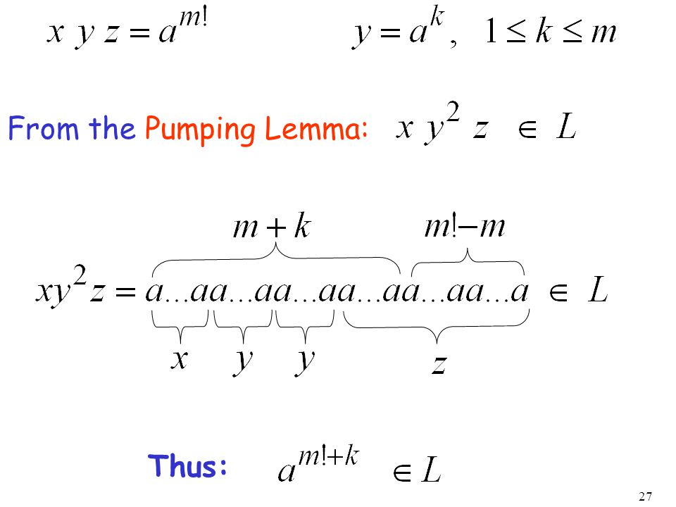 27 From the Pumping Lemma: Thus: