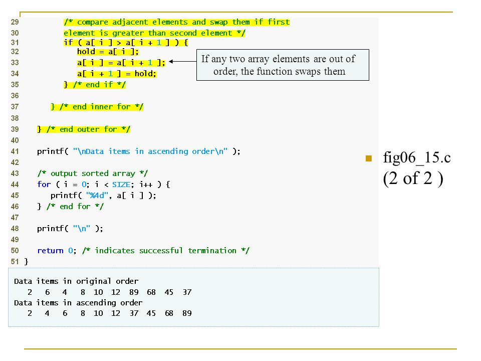 fig06_15.c (2 of 2 ) If any two array elements are out of order, the function swaps them