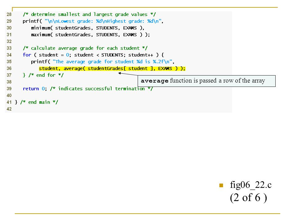 fig06_22.c (2 of 6 ) average function is passed a row of the array