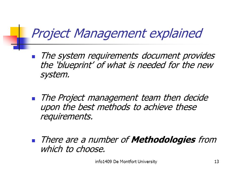 info1409 De Montfort University13 Project Management explained The system requirements document provides the 'blueprint' of what is needed for the new system.