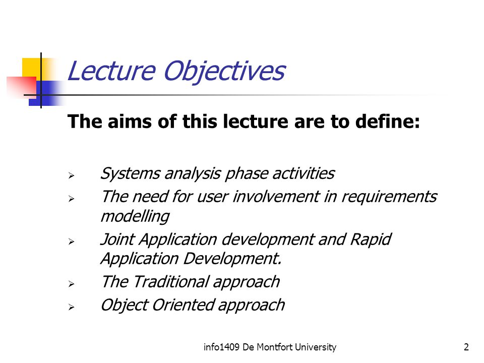 info1409 De Montfort University2 Lecture Objectives The aims of this lecture are to define:  Systems analysis phase activities  The need for user involvement in requirements modelling  Joint Application development and Rapid Application Development.