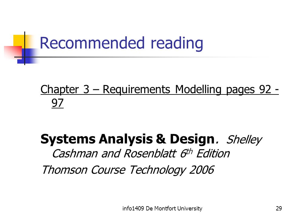 info1409 De Montfort University29 Recommended reading Chapter 3 – Requirements Modelling pages Systems Analysis & Design.