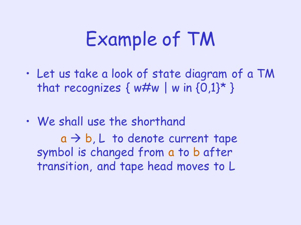 Example of TM Let us take a look of state diagram of a TM that recognizes { w#w | w in {0,1}* } We shall use the shorthand a  b, L to denote current tape symbol is changed from a to b after transition, and tape head moves to L