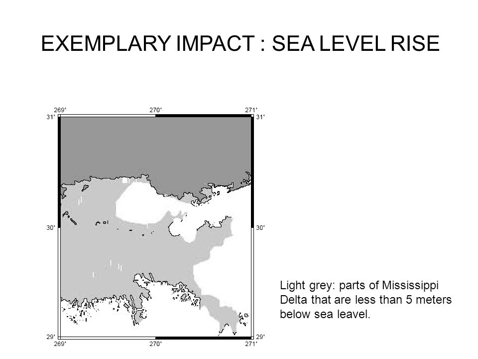 EXEMPLARY IMPACT : SEA LEVEL RISE Light grey: parts of Mississippi Delta that are less than 5 meters below sea leavel.