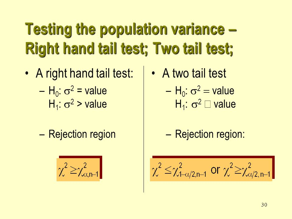 29 A right hand tail test: H 0 :  2 = value H 1 :  2 > value Rejection region Testing the population variance – Right hand tail test; Two tail test; Click