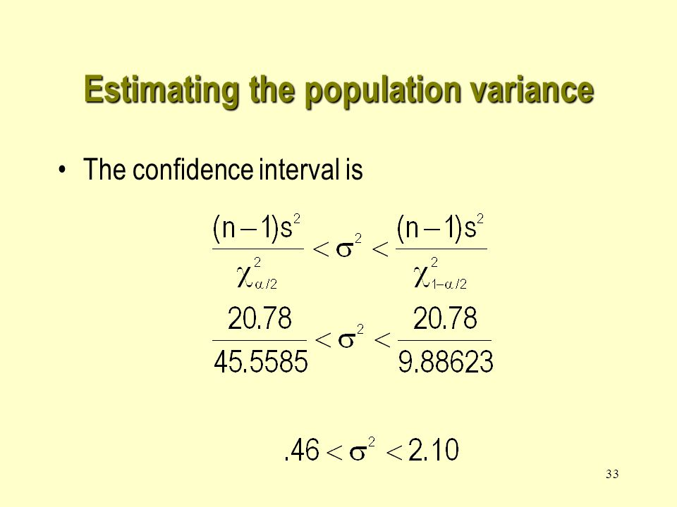32 Estimating the population variance Example 2 –Estimate the variance of fills in example 12.3 with 99% confidence.