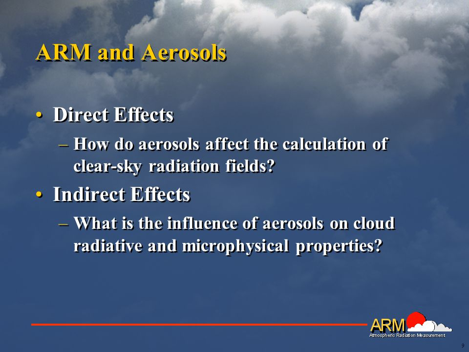 9 ARM and Aerosols Direct Effects –How do aerosols affect the calculation of clear-sky radiation fields.