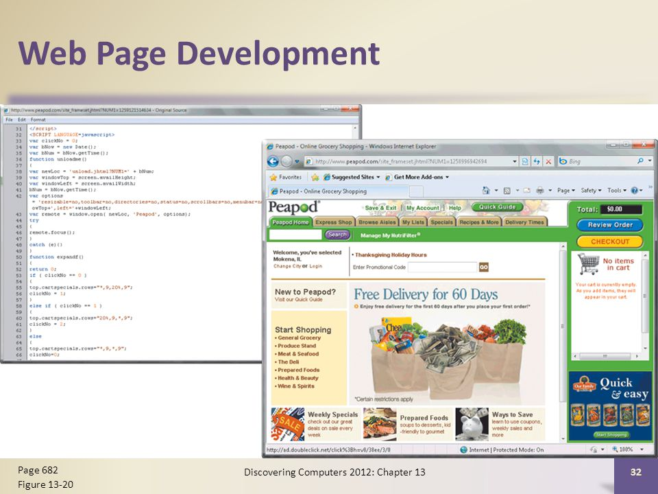 Web Page Development Discovering Computers 2012: Chapter Page 682 Figure 13-20