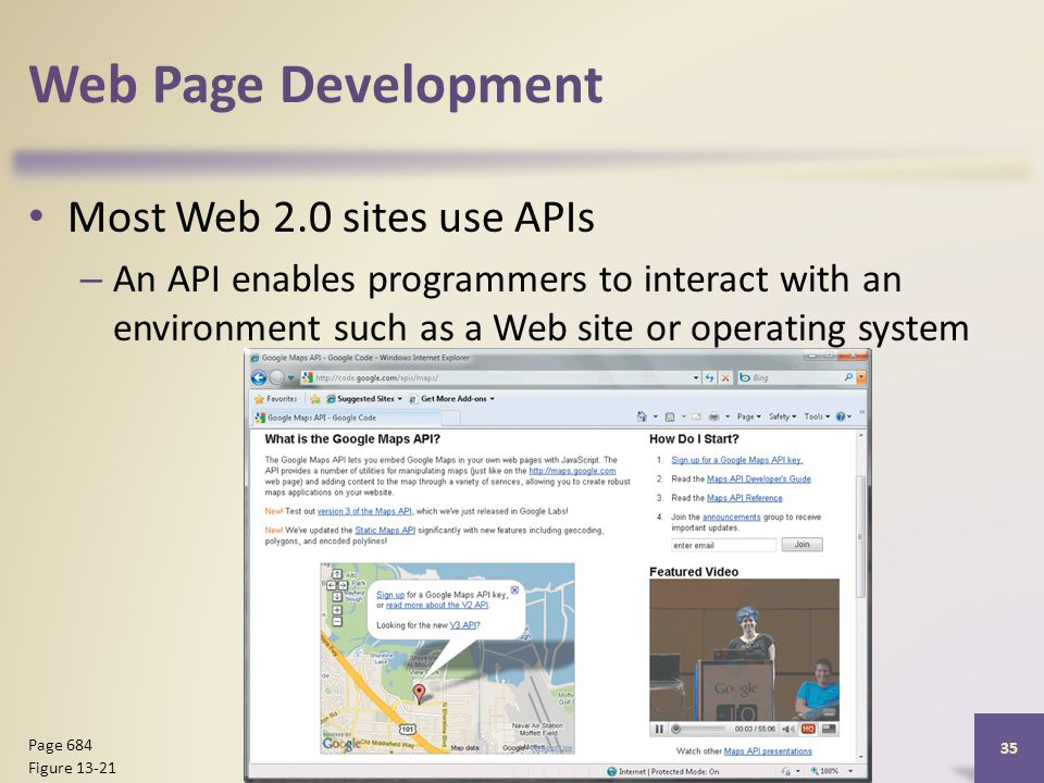 Web Page Development Most Web 2.0 sites use APIs – An API enables programmers to interact with an environment such as a Web site or operating system Discovering Computers 2012: Chapter Page 684 Figure 13-21