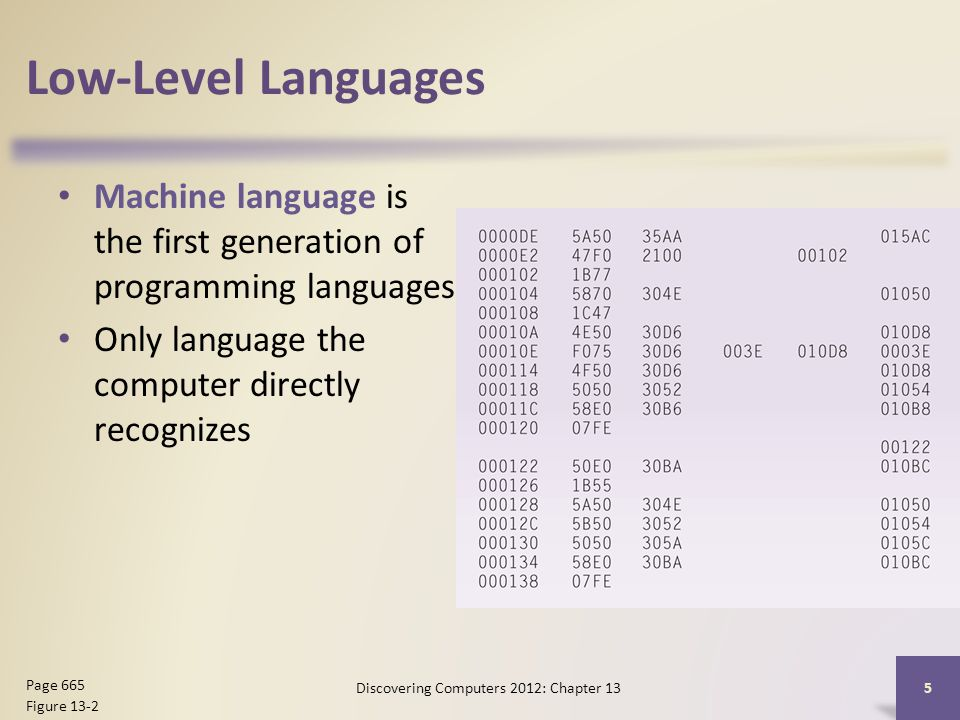 Low-Level Languages Machine language is the first generation of programming languages Only language the computer directly recognizes Discovering Computers 2012: Chapter 13 5 Page 665 Figure 13-2