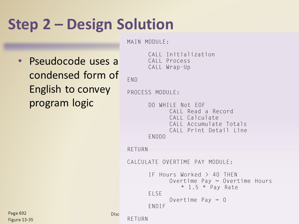 Step 2 – Design Solution Pseudocode uses a condensed form of English to convey program logic Discovering Computers 2012: Chapter Page 692 Figure 13-35