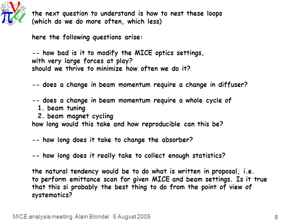 MICE analysis meeting Alain Blondel 5 August the next question to understand is how to nest these loops (which do we do more often, which less) here the following questions arise: -- how bad is it to modify the MICE optics settings, with very large forces at play.