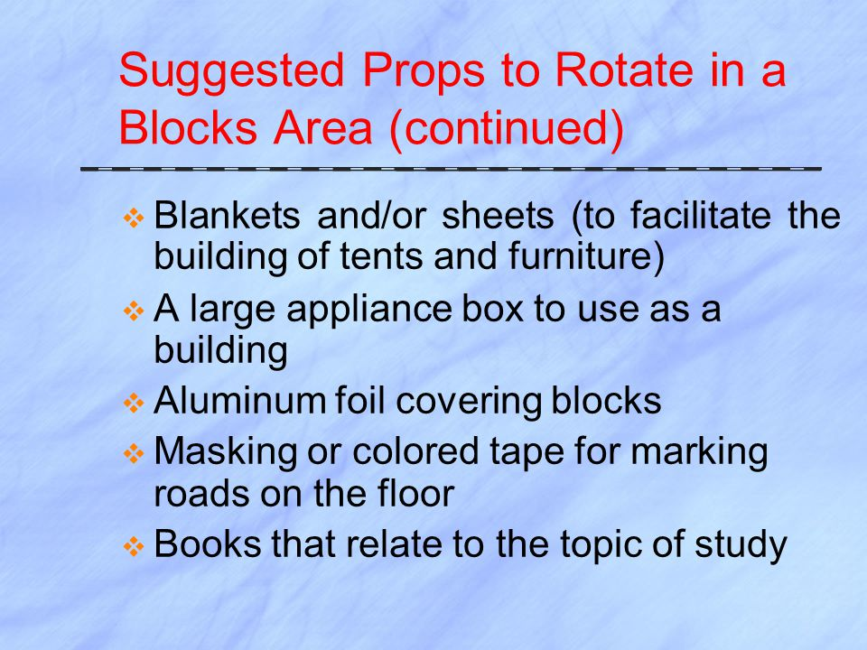 Suggested Props to Rotate in a Blocks Area (continued)  Blankets and/or sheets (to facilitate the building of tents and furniture)  A large appliance box to use as a building  Aluminum foil covering blocks  Masking or colored tape for marking roads on the floor  Books that relate to the topic of study