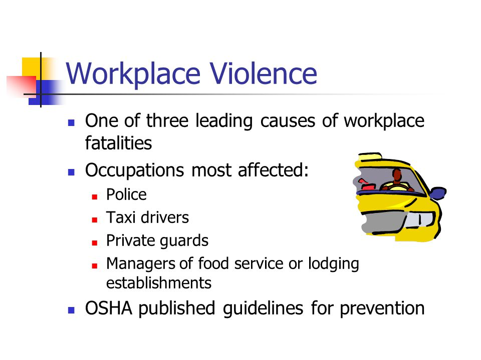 Workplace Violence One of three leading causes of workplace fatalities Occupations most affected: Police Taxi drivers Private guards Managers of food service or lodging establishments OSHA published guidelines for prevention