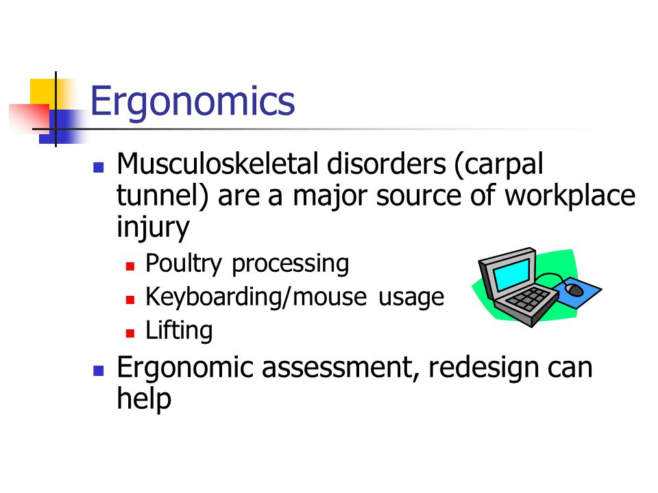 Ergonomics Musculoskeletal disorders (carpal tunnel) are a major source of workplace injury Poultry processing Keyboarding/mouse usage Lifting Ergonomic assessment, redesign can help