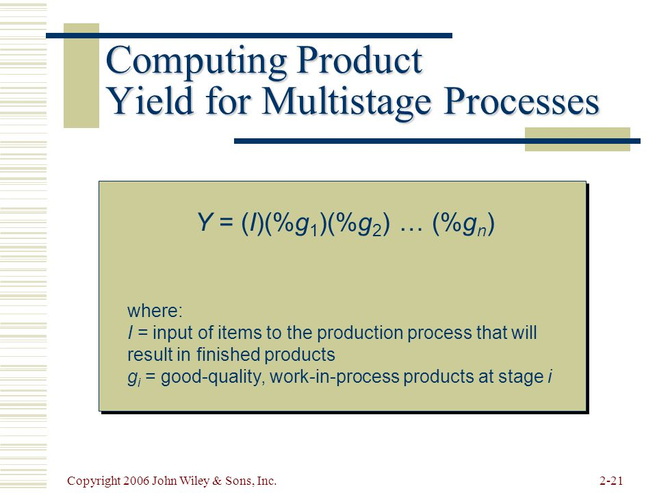 Copyright 2006 John Wiley & Sons, Inc.2-21 Computing Product Yield for Multistage Processes Y = (I)(%g 1 )(%g 2 ) … (%g n ) where: I = input of items to the production process that will result in finished products g i = good-quality, work-in-process products at stage i