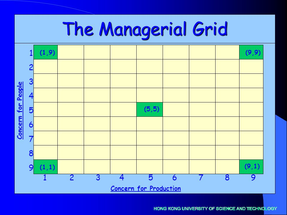 The Managerial Grid Concern for Production Concern for People (1,9) (1,1) (5,5) (9,9) (9,1)