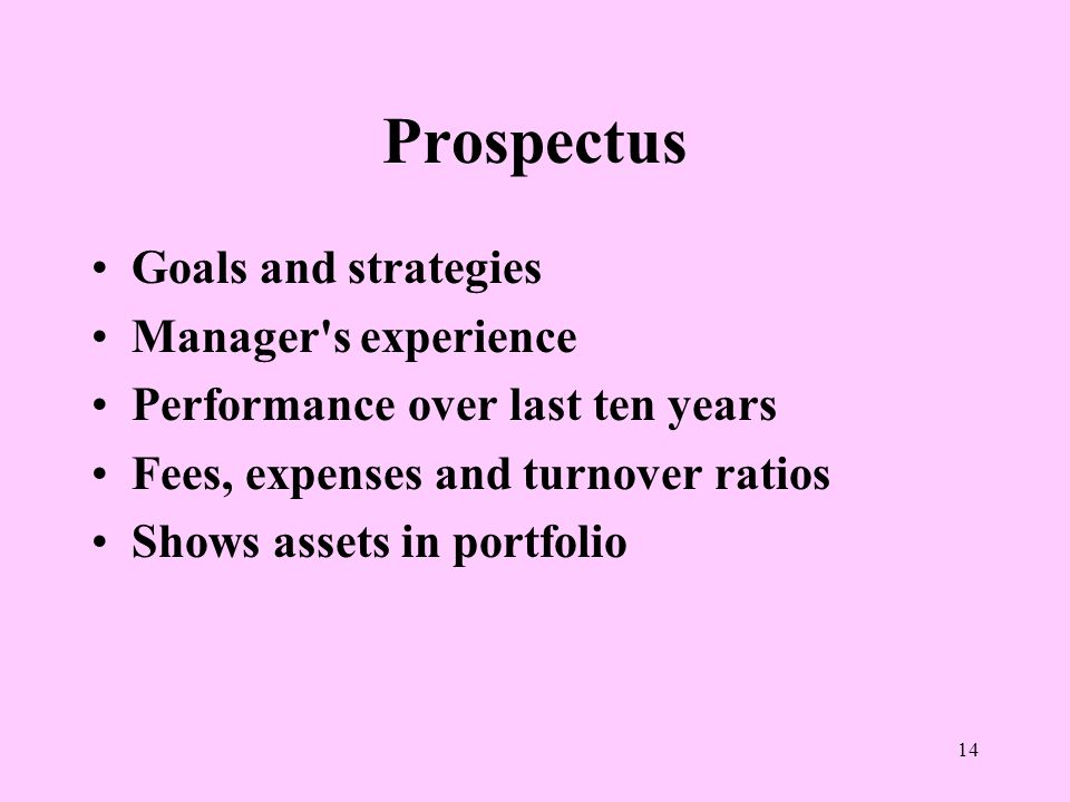 14 Prospectus Goals and strategies Manager s experience Performance over last ten years Fees, expenses and turnover ratios Shows assets in portfolio