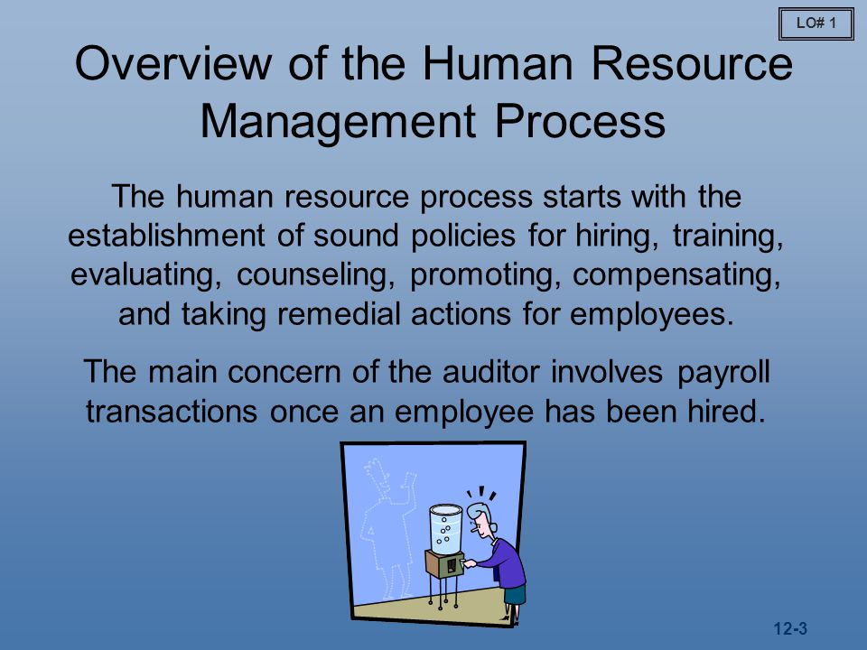 12-3 Overview of the Human Resource Management Process The human resource process starts with the establishment of sound policies for hiring, training, evaluating, counseling, promoting, compensating, and taking remedial actions for employees.