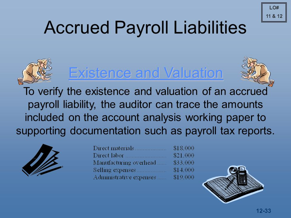 12-33 Accrued Payroll Liabilities Existence and Valuation To verify the existence and valuation of an accrued payroll liability, the auditor can trace the amounts included on the account analysis working paper to supporting documentation such as payroll tax reports.