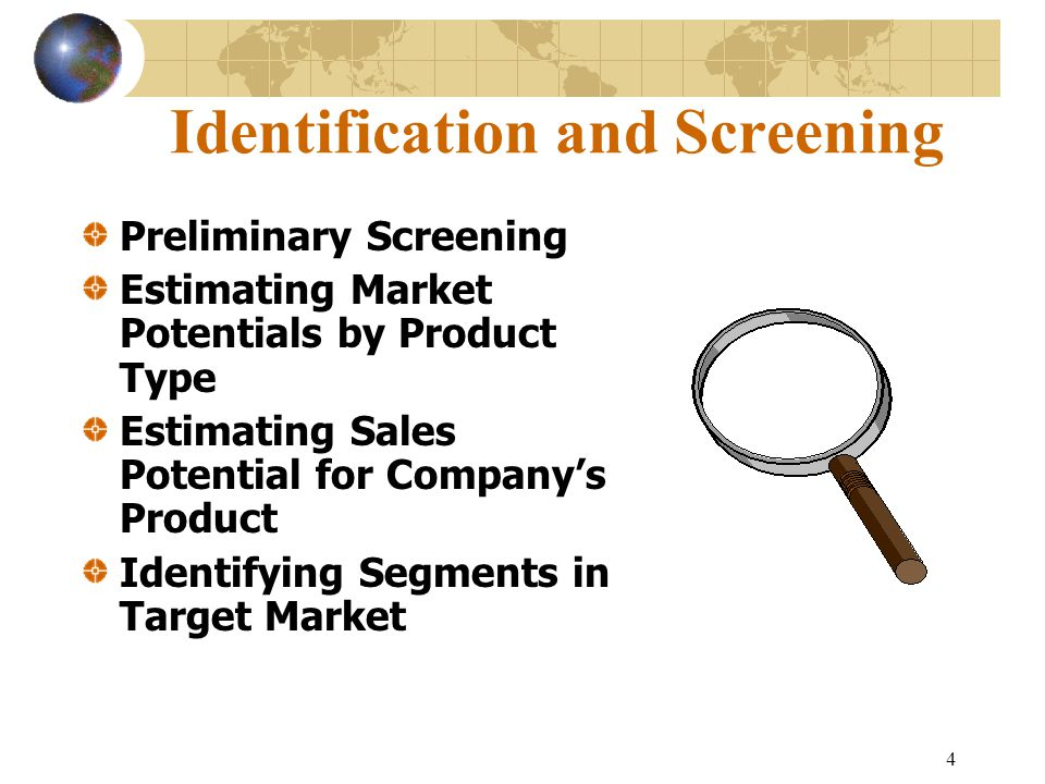 4 Identification and Screening Preliminary Screening Estimating Market Potentials by Product Type Estimating Sales Potential for Company's Product Identifying Segments in Target Market