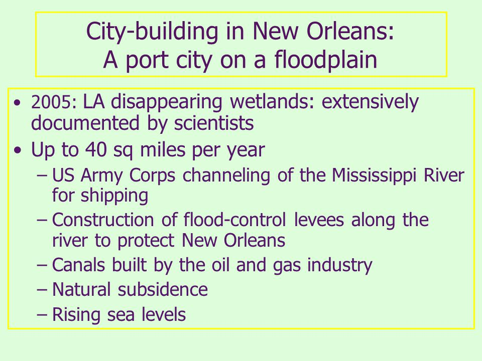 City-building in New Orleans: A port city on a floodplain 2005: LA disappearing wetlands: extensively documented by scientists Up to 40 sq miles per year –US Army Corps channeling of the Mississippi River for shipping –Construction of flood-control levees along the river to protect New Orleans –Canals built by the oil and gas industry –Natural subsidence –Rising sea levels