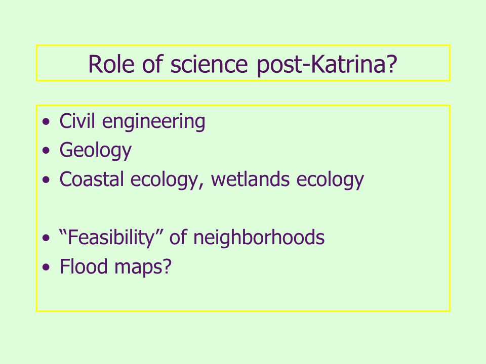 Role of science post-Katrina.