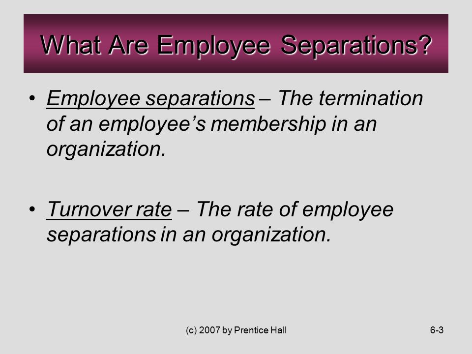 (c) 2007 by Prentice Hall6-3 Employee separations – The termination of an employee's membership in an organization.
