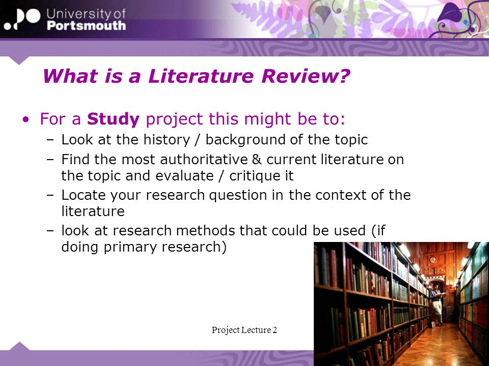 Review Of Literature For Project
