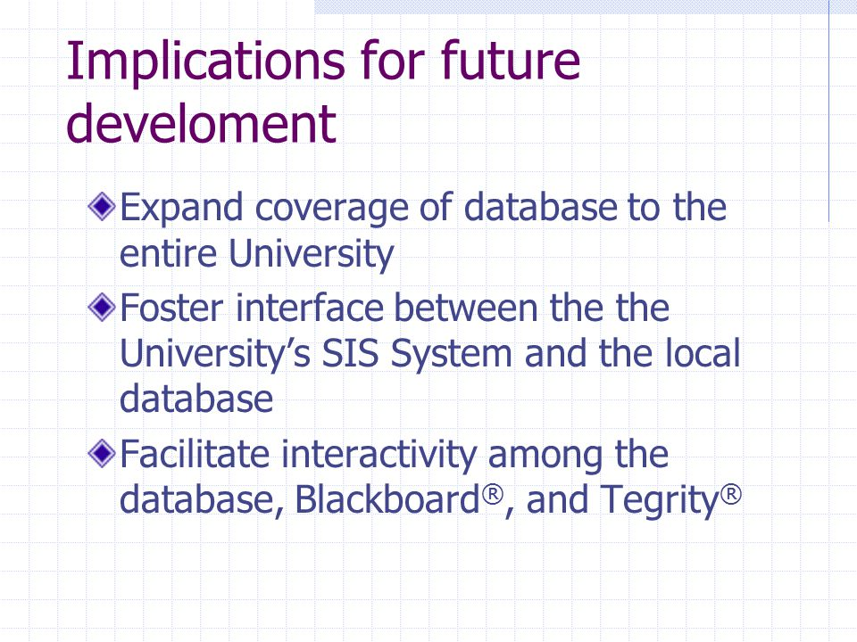Implications for future develoment Expand coverage of database to the entire University Foster interface between the the University's SIS System and the local database Facilitate interactivity among the database, Blackboard ®, and Tegrity ®