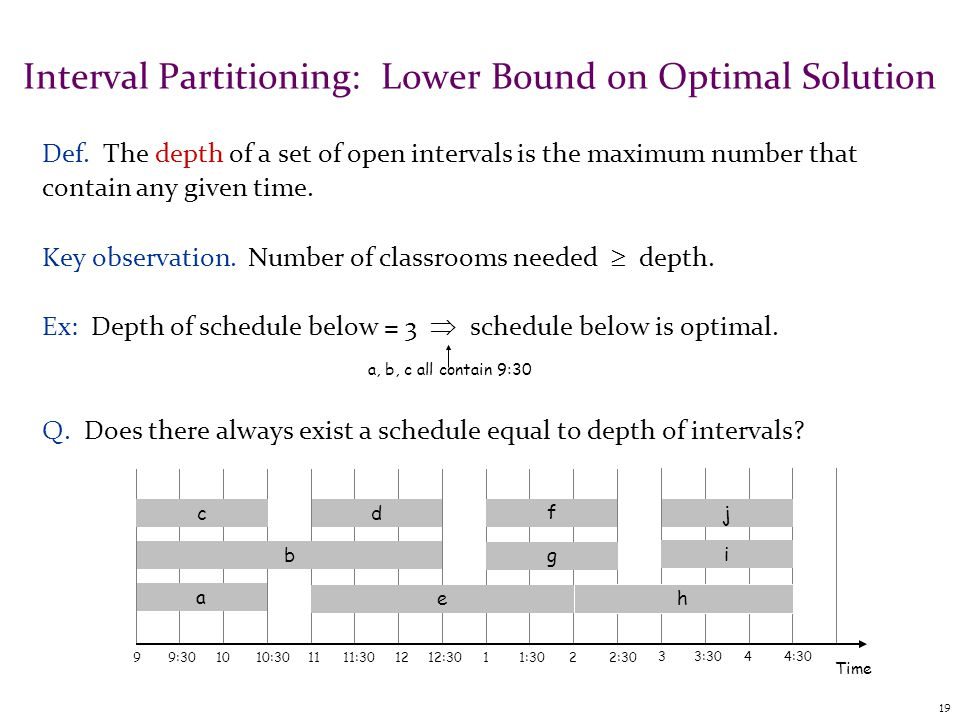 19 Interval Partitioning: Lower Bound on Optimal Solution Def.