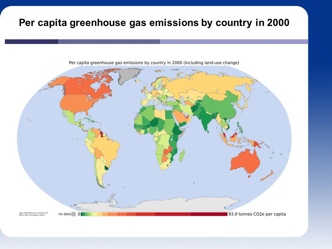 Per capita greenhouse gas emissions by country in 2000