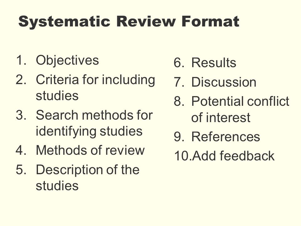 Systematic Review Format 1.Objectives 2.Criteria for including studies 3.Search methods for identifying studies 4.Methods of review 5.Description of the studies 6.Results 7.Discussion 8.Potential conflict of interest 9.References 10.Add feedback