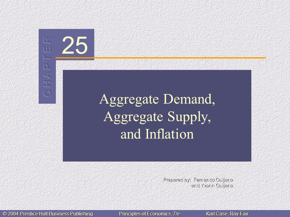 25 Prepared by: Fernando Quijano and Yvonn Quijano © 2004 Prentice Hall Business PublishingPrinciples of Economics, 7/eKarl Case, Ray Fair Aggregate Demand, Aggregate Supply, and Inflation
