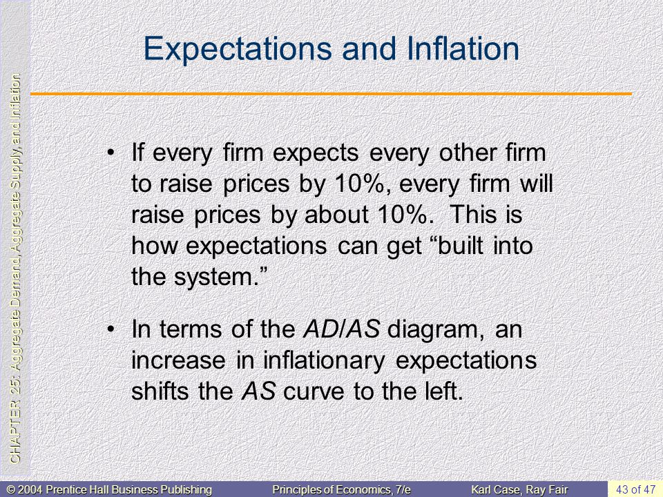 CHAPTER 25: Aggregate Demand, Aggregate Supply, and Inflation © 2004 Prentice Hall Business PublishingPrinciples of Economics, 7/eKarl Case, Ray Fair 43 of 47 Expectations and Inflation If every firm expects every other firm to raise prices by 10%, every firm will raise prices by about 10%.