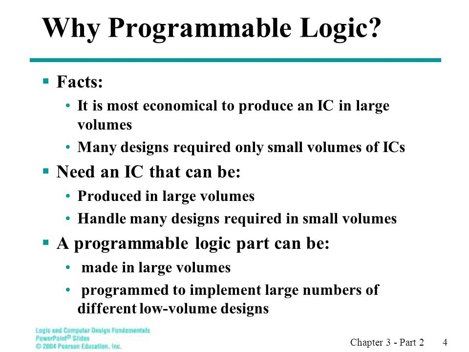 Chapter 3 - Part 2 4 Why Programmable Logic.
