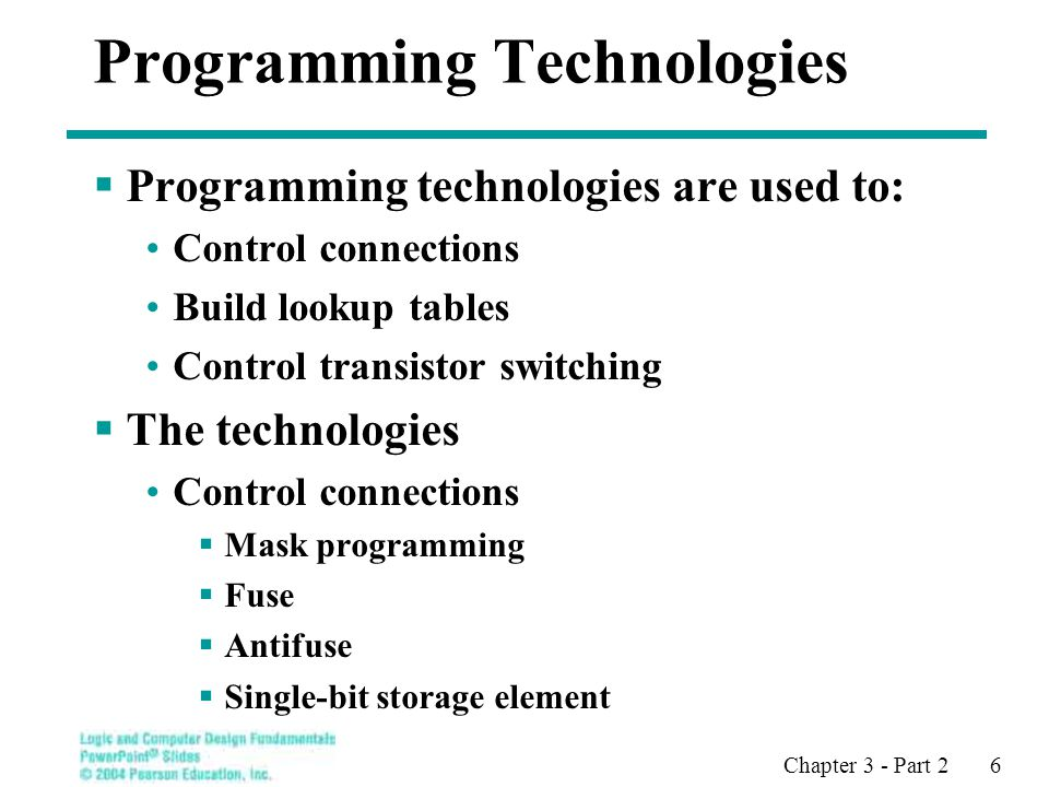 Chapter 3 - Part 2 6 Programming Technologies  Programming technologies are used to: Control connections Build lookup tables Control transistor switching  The technologies Control connections  Mask programming  Fuse  Antifuse  Single-bit storage element
