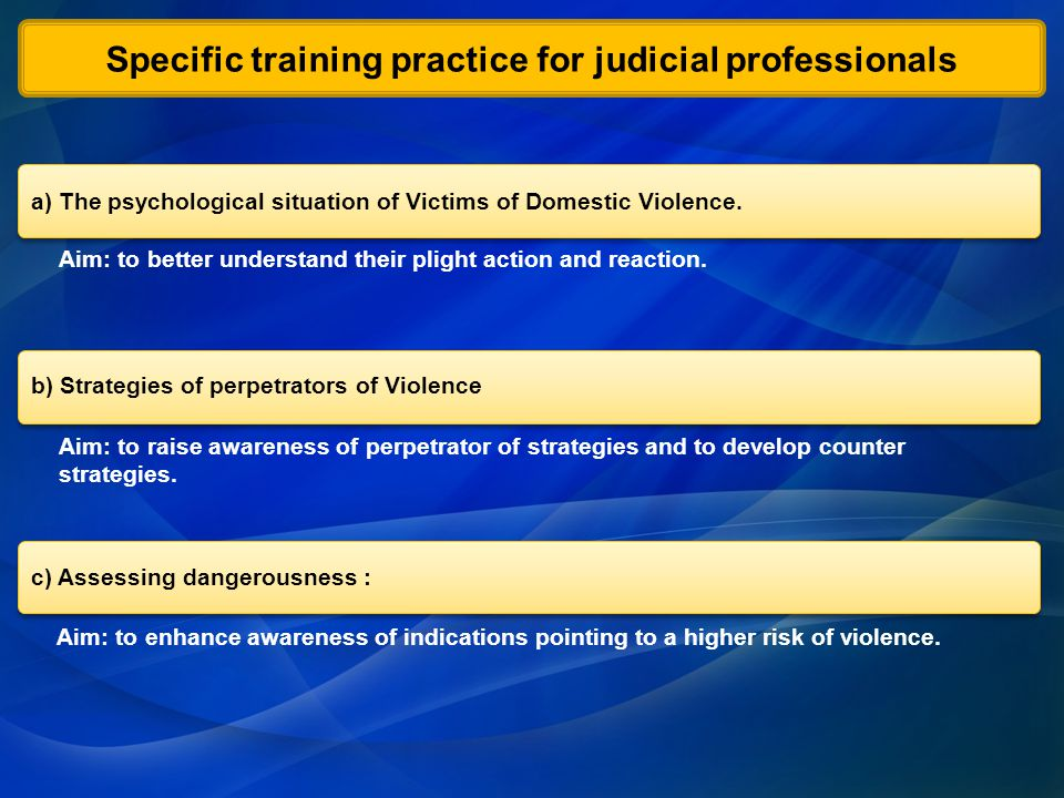 Aim: to enhance awareness of indications pointing to a higher risk of violence.