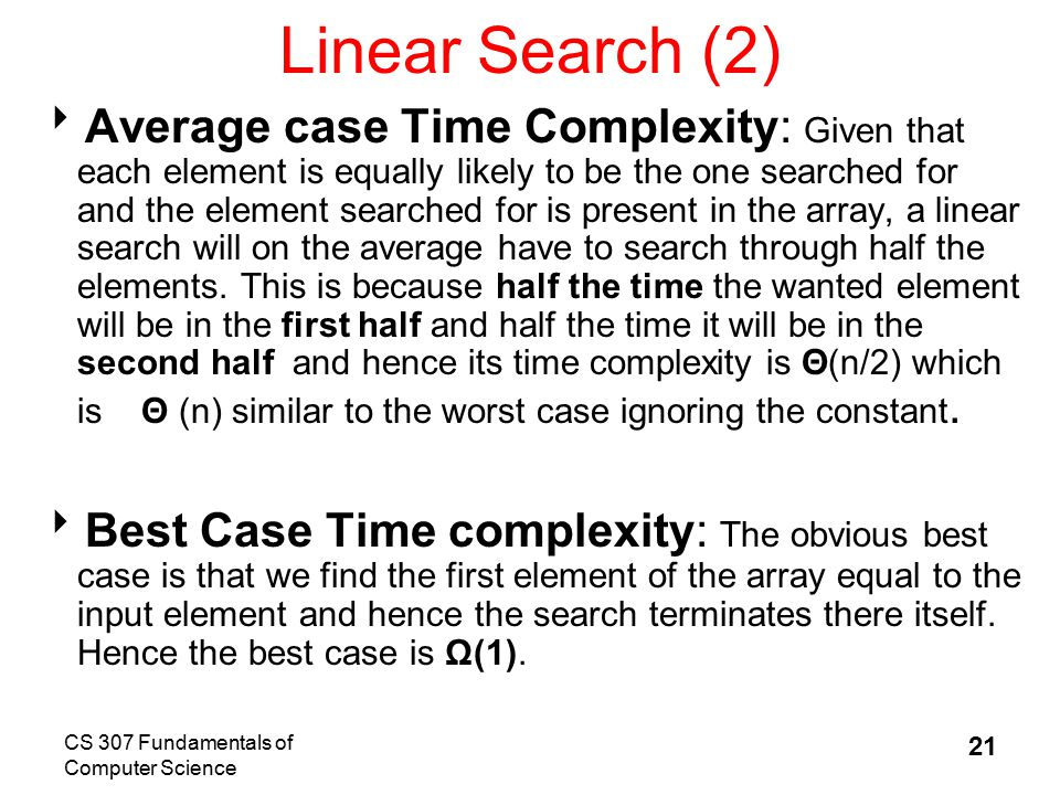best case analysis of linear search