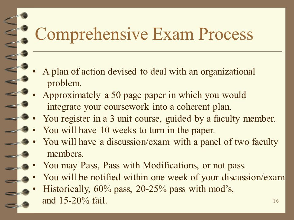 16 Comprehensive Exam Process A plan of action devised to deal with an organizational problem.