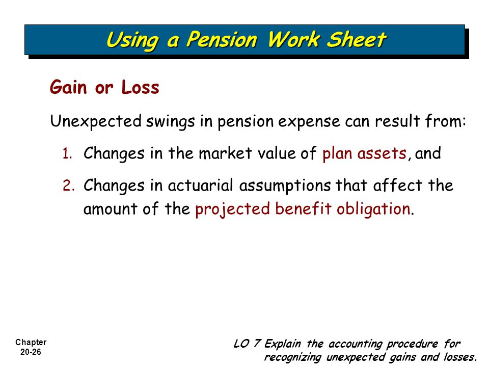 Chapter Gain or Loss Unexpected swings in pension expense can result from: 1.