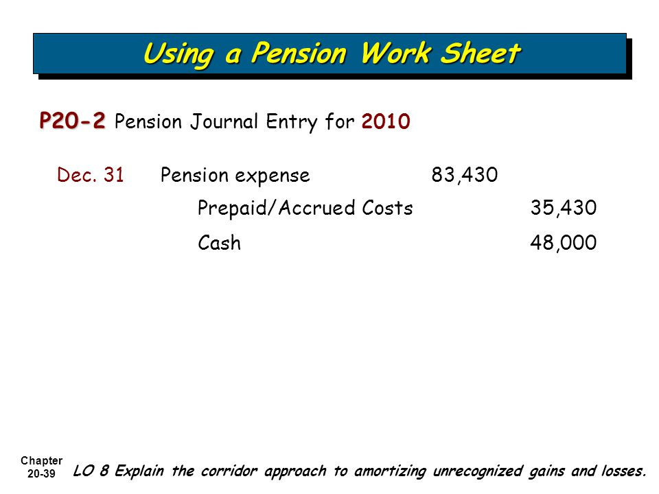 Chapter Using a Pension Work Sheet P20-2 P20-2 Pension Journal Entry for 2010 Prepaid/Accrued Costs 35,430 Pension expense 83,430Dec.