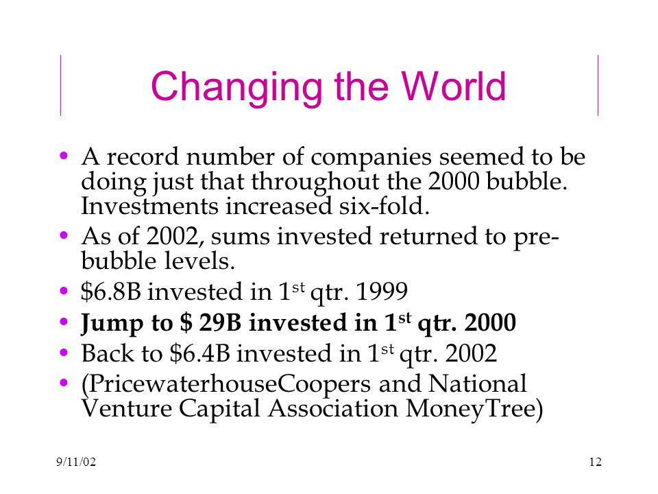 9/11/0212 Changing the World A record number of companies seemed to be doing just that throughout the 2000 bubble.
