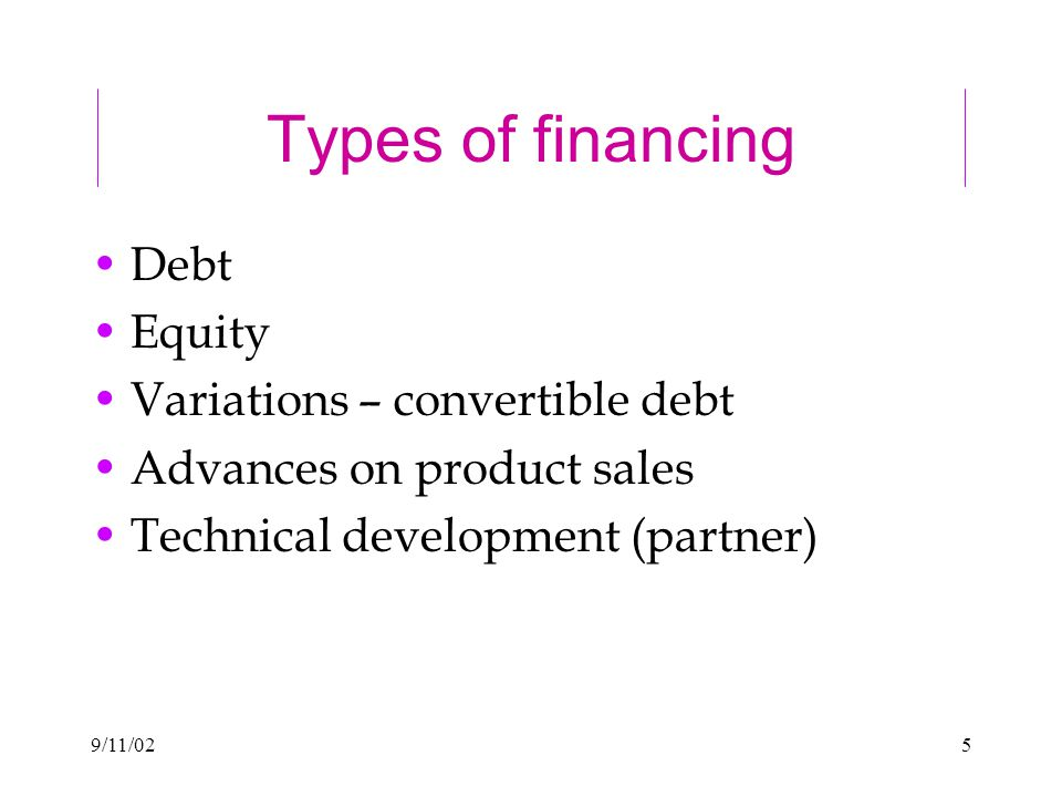 5 Types of financing Debt Equity Variations – convertible debt Advances on product sales Technical development (partner)
