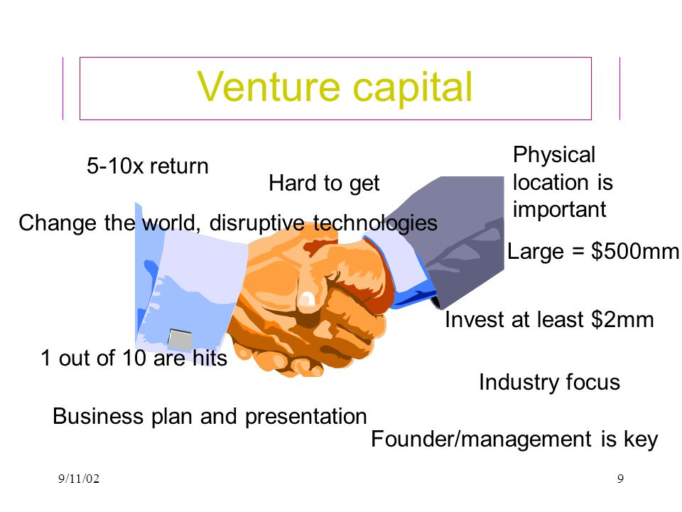 9/11/029 Venture capital 5-10x return 1 out of 10 are hits Invest at least $2mm Change the world, disruptive technologies Industry focus Physical location is important Hard to get Business plan and presentation Founder/management is key Large = $500mm