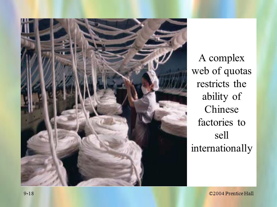 ©2004 Prentice Hall9-18 A complex web of quotas restricts the ability of Chinese factories to sell internationally
