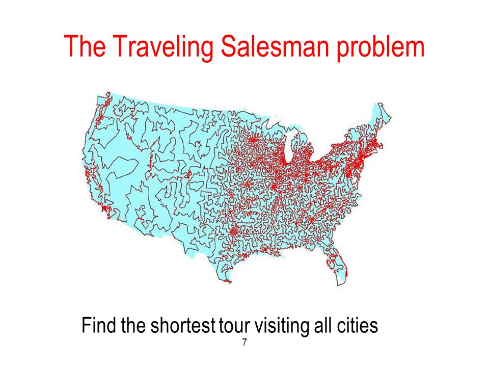 The Traveling Salesman problem 7 Find the shortest tour visiting all cities