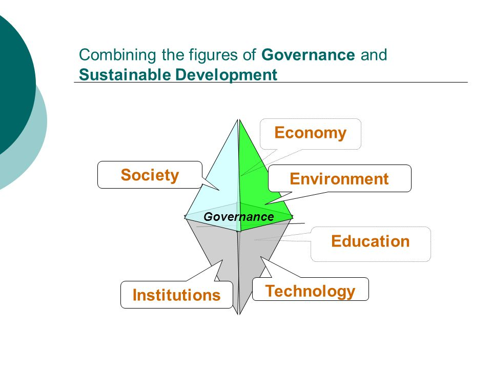 Environment Technology Society Economy Institutions Governance Combining the figures of Governance and Sustainable Development