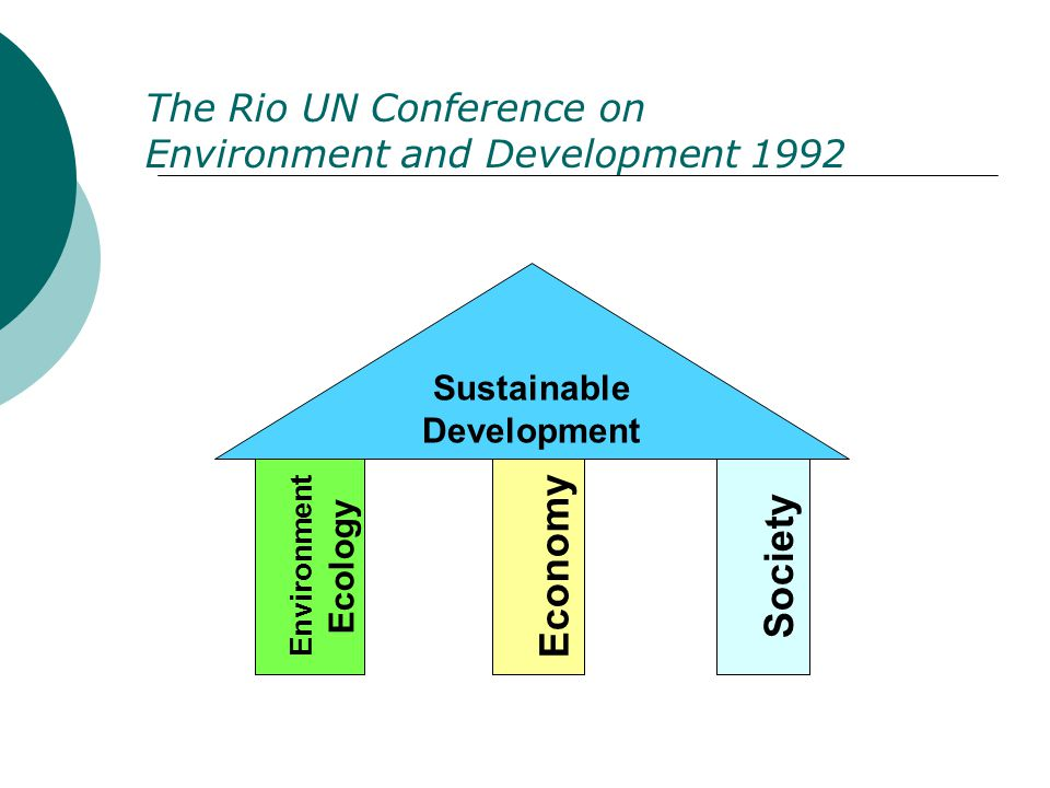 Environment Ecology Economy Society Sustainable Development The Rio UN Conference on Environment and Development 1992
